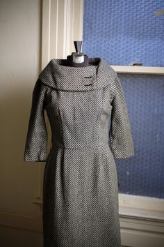1960s Wool Cowl Neck Wiggle Dress