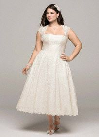 Gorgeous strapless tea-length dress & cap-sleeve shrug adds stylish coverage , both designed in gorgeous lace. A satin Yurt defines the waist and flows into an ultra flattering A-line skirt.