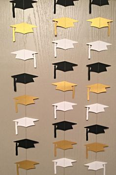 1 Black, White, and Gold Graduation Cap Garland Streamer For Parties, Back Drops