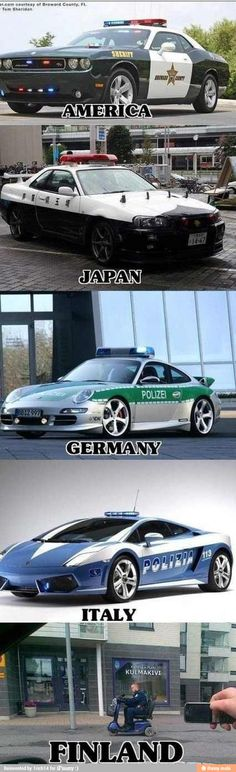 Police cars around the world. ~ I'd apply for a police job in Italy, Germany or Broward County, Fl.