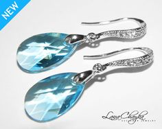 Wedding Gift Earrings Swarovski Aquamarine Blue by LanaChayka, $27.00