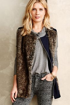 faux-fur vest #anthrofave #holidaystyle