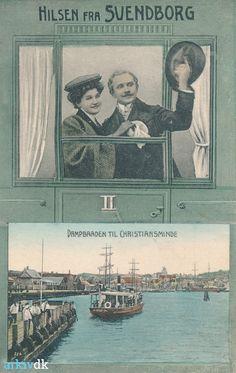 Små dampbåde af samme type som GRØNSUND og BOGØ sejlede flere steder i Danmark, her HROAR i Svendborg, 1909. arkiv.dk | Svendborg Havn