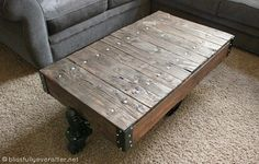 DIY Factory Cart Coffee Table {Restoration Hardware Knockoff} - Grace Filled Beauty