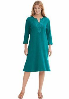 8de7f4bfb1a Plus Size Crinkle Gauze Dress (Royal Jade