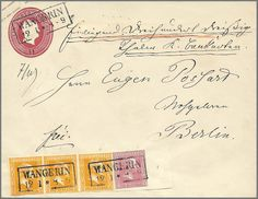 """1 Sgr. carmine rose with large right margin of sheet, figure of value of rows """"4"""", together with strip of three 3 Sgr. orange, on postal stationery 1 Sgr. rose in the large size, attractive used with box cancel of 2 lines """"Wangerin"""", to Berlin. All stamps full- till mostly with wide margins, originally choise copy condition    Dealer  Rauhut & Kruschel Stamp auction    Auction  Minimum Bid:  1200.00EUR"""