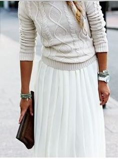 Sweater and maxi skirt. really like this look! find more chic styles #trendslove
