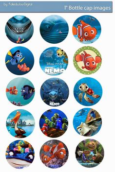"Finding Nemo free digital bottle cap images 1""     4x6"" / 300dpi  - You can print and use them for your art project, Stickers, Hair Bow Ce..."