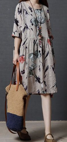 Women loose fit over plus size retro flower dress pocket linen tunic casual chic #Unbranded #dress #Casual