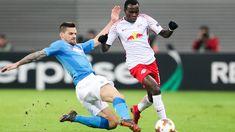 Euro L.: Leipzig - Neapel 0:2_ Leipzig trotzdem im AF - Leipzigs Bruma (r.) und Neapels Christian Maggio