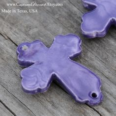 Pottery Cross Bead in Purple by CapturedMoments on Etsy