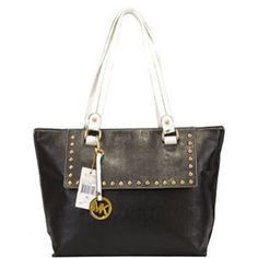 $79 Michael Kors Studed Flap Leather Tote Black : Michael Kors Outlet Online