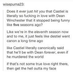 Yup destiel went canon long time ago