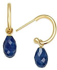 Sapphire Briolette Hoop Earrings (4-1/10 ct. t.w.) in 14k Gold
