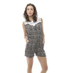 SoHo Women Sleeveless Elastic Waist Black Abstract Romper Size Small (S) - Black/Gray