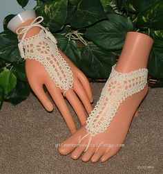 Crochet Sandals Foot Jewelry Hippie Crocheted by gilmoreproducts33