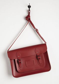 Cambridge Satchel Company Bag in Red - 14 inch. This ultra stunning, versatile carmine bag designed by The Cambridge Satchel Company in the UK, is absolutely saturated with style. #red #modcloth