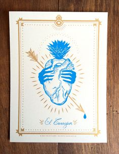 EL CORAZON - Screen Print, Loteria, Mexican Card Game, New Mexico, Heart, Love, Frida, Illustration
