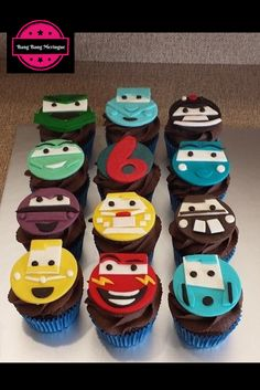 Cars cupcakes! lightening mcqueen  fondant cupcake toppers chocolate cupcakes - awesome for birthdays! check us out on: facebook.com/bangbangmeringue instagram.com/bangbangmeringue twitter.com/bbmeringue pinterest.com/bbmeringue