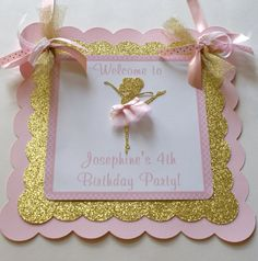Ballerina Door Sign Pink and Gold Ballerina by ThePartyPaperFairy