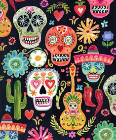 Mexican Skulls, Mexican Folk Art, Mexican Paintings, Owl Paintings, Skull Illustration, Pattern Illustration, Sugar Skull Art, Sugar Skulls, Candy Skulls