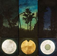 Catherine Nash, Navigation at Night: Ode to M.G.  Encaustic & oil, mixed media, glass, metal leafing. 36.5 X 36.75 in.