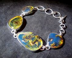 Dominican blue amber and sterling bracelet