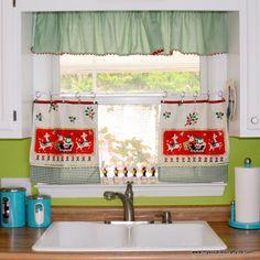 DIY Upcycled Vintage Tea Towel Christmas Curtains
