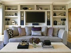 Good way to integrate the TV neatly - not obtrusive, storage either side and again symmetrical