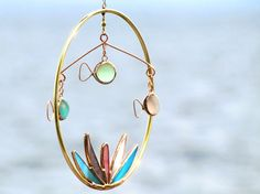 Glass and Copper Fish Mobile Fishes in the Round by SNLCreations, $42.00