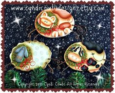 CC105 - Christmas on the Farm Ornaments - E Pattern - pinned by pin4etsy.com