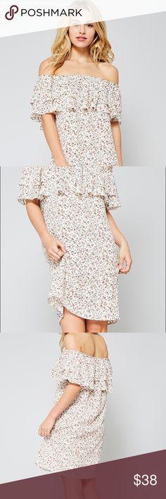 Liberty Off The Shoulder Dress Ruffle off the shoulder dress, flower print on ivory Dresses Strapless
