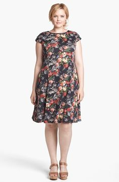 ABS Luxury Collection Print Fit & Flare Dress (Plus Size)
