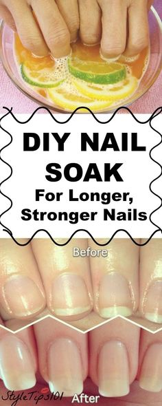 This DIY nail soak for longer, stronger nails combines orange juice, garlic, and olive oil to give you incredible nails FAST! This DIY nail soak for longer, stronger nails will seriously change you… Ongles Plus Forts, Ongles Forts, Diy Nails Soak, Nail Soak, Diy Gel Nails, Hard Gel Nails, Nail Art Diy, Cute Nails, Pretty Nails