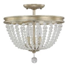 Austin Allen & Company Handley Collection 3-light Iced Gold Semi Flush Mount