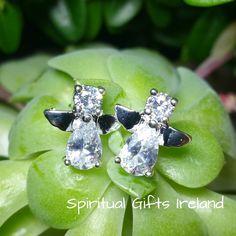 Cubic Zirconia Angel Stud Earrings Sterling Silver