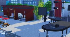 With merch boot San Myshuno, Sims 4, Park, Decor, Decoration, Parks, Decorating, Deco