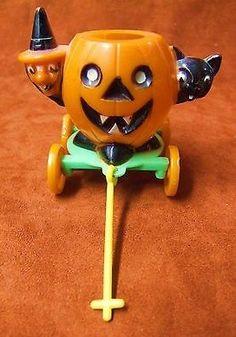 vintage halloween hard plastic novelty toys party favors ghosts on jack o lantern pumpkins vintage halloween collectibles pinterest novelty toys