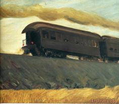 Railroad Train Painting by Edward Hopper