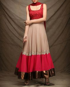 Exclusively.In Beige Anarkali Suit with Embroidery