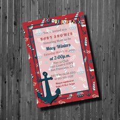 Baby Shower Invitation-Printable-Nautical-Girl-Anchor-Birthday invite
