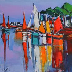 With roots stretching far into New Orleans History and art scene. Abstract Landscape, Landscape Paintings, Mediterranean Paintings, Sailboat Painting, Boat Art, Nautical Art, Mural Art, French Art, Contemporary Paintings