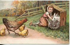 Antique Easter Postcard. embossed chicken by sharonfostervintage