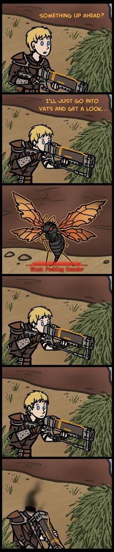Fallout new vegas in a nutshell Fallout 4 Funny, Fallout Comics, Fallout Fan Art, Fallout New Vegas, Video Game Memes, Video Games Funny, Funny Games, Gamer Humor, Gaming Memes