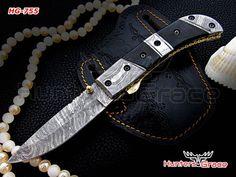 damascus custom handmade hunting knife,folding liner lock,buffalo horn