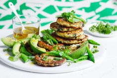Ricotta and mint fritters: Quick and easy to make, these fritters will easily become a dinner table favourite. Vegetable Recipes, Vegetarian Recipes, Cooking Recipes, Healthy Recipes, Veggie Meals, Healthy Dinners, Cheese Recipes, Healthy Food, Delicious Magazine Recipes