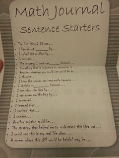 Math notebooks sentence starters- picture only teaching idea Math Teacher, Math Classroom, Teaching Math, Teaching Ideas, Teacher Stuff, Future Classroom, Math Strategies, Math Resources, Math Worksheets