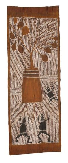 Artist Unknown  Untitled   natural earth pigments on eucalyptus bark  81.5 x 28.5cm