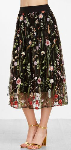 Floral Embroidered Mesh Overlay Tea Length Skirt