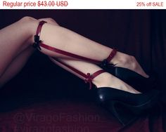 ♥ Sexy legs leather harness ♥ soft and comfortable! Be unique and stylish! Choose collor of the bows in option!  Top calf cuff is 12 inches adjustable